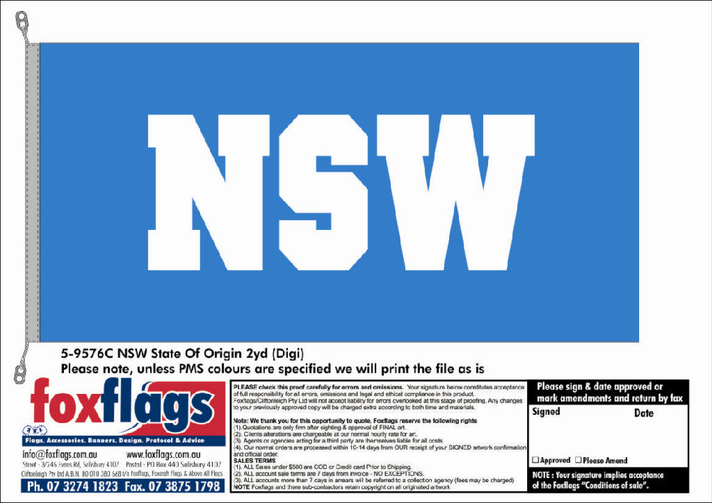 State of Origin NSW Supporter 2yd (1800mm x 900mm)