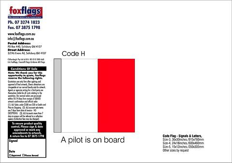 Code H Size 3 (A PILOT IS ON BOARD)