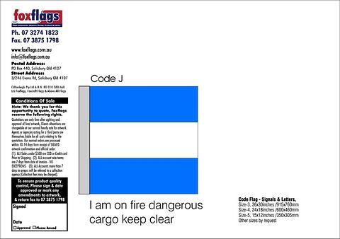 Code J Size 3 (I AM ON FIRE DANGEROUS CARGO ON BOARD KEEP CLEAR)