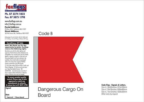 Code B Size 5 (DANGEROUS CARGO ON BOARD)