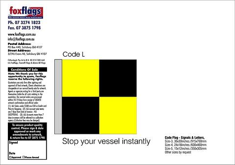 Code L Size 5 (STOP YOUR VESSEL INSTANTLY)